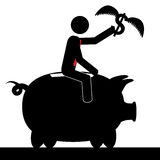 Ride the pig. Vector / illustration of a man that is on a piggy bank and he is holding a flying dollar Stock Photography
