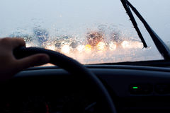 drive car in the rain Royalty Free Stock Images