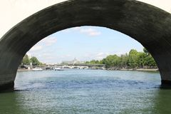 Ride with riverboat in Paris stock images