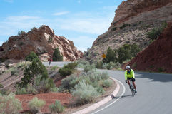 Ride the Rockies. Http://www.ridetherockies.com/ FRUITA, CO, JUNE 13, 2010, A few of 2000 participants in the 25th Annual Ride the Rockies cycle tour zoom down royalty free stock photography