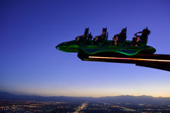 Ride on Stratosphere tower at Night, Las Vegas. Ride on Stratosphere observation deck, Las vegas, Nevada, USA Stock Photos