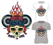 Ride To Live Print. Fire print skull t-shirt design old school style biker print with motorcycle wheels and symbols vector illustration Stock Images