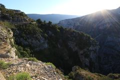 Verdon Gorges in France at sunset Royalty Free Stock Image
