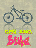Ride your bike. Grunge vector illustration with a bike silhouette and graffiti text - ride your bike royalty free illustration