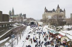Rideau Canal. Skaters in ice of Rideau Canal, Ottawa Royalty Free Stock Photography