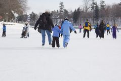 Rideau Canal. Skaters in ice of Rideau Canal, Ottawa Royalty Free Stock Photo