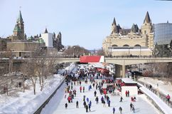 Rideau Canal Ice Skating Rink in winter, Ottawa royalty free stock photos