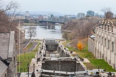 Rideau Canal Locks in Ottawa, Ontario, Canada, with Saint Lawrence river, Alexandra bridge and Gatineau Hull city in the backgroun stock photo