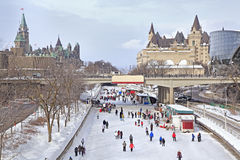 Rideau Canal skating rink in winter, Ottawa royalty free stock photo