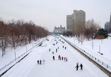Rideau Canal in Winter. Skating on the Rideau Canal in Ottawa Stock Photos