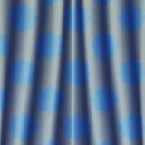 Rideau coloré métallique profondément bleu en nuit de tissu avec le modèle de fleur Photo libre de droits