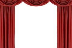 Rideau en soie rouge en étape sur le théâtre illustration libre de droits