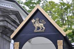 Rideau Hall Domain Entrance Guard Cabin detaljer från Ottawa i Kanada Royaltyfri Bild