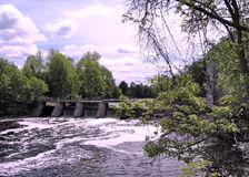 Rideau River Manotick dam May 2008. Dam on the Rideau River near Watson`s Mill in Manotick, Canada, May 18, 2008 stock image