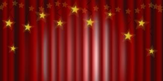 Rideau rouge avec des étoiles illustration libre de droits