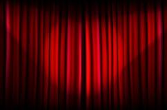 Rideau rouge avec des faisceaux de lumière Photographie stock