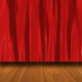 Rideau rouge avec le plancher de parquet Photo stock