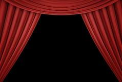 Rideau rouge d'un théâtre classique d'isolement sur le fond noir 3d rendent photo stock