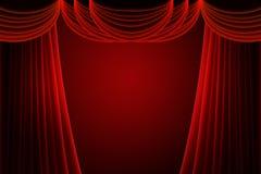 Rideau rouge en étape Image libre de droits