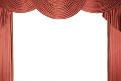 Rideau rouge en étape avec un tull Photo stock