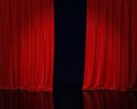 Rideau rouge en étape, fond Image stock