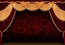Rideau rouge en théâtre photos stock