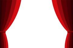 Rideau rouge ouvert sur un fond blanc Photo libre de droits