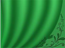 Rideau vert avec un fond clair Photos stock