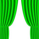 Rideau vert sur le blanc. Fond Photos libres de droits