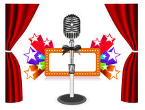 Rideaux avec le microphone Photos libres de droits