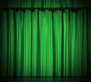 Rideaux en soie verts avec la jarretière d'isolement sur le fond blanc haute résolution de l'illustration 3d Image stock