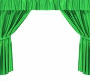 Rideaux en soie verts avec la jarretière d'isolement sur le fond blanc haute résolution de l'illustration 3d Image libre de droits
