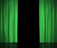 Rideaux en soie verts pour la lumière éclairée par des projecteurs de théâtre et de cinéma au centre illustration 3D Image libre de droits