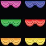 Rideaux en théâtre avec différents couleurs et points culminants illustration libre de droits