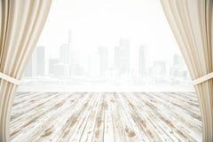 Rideaux et surface en bois Photographie stock libre de droits
