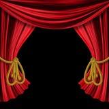 Rideaux ouverts sur le fond noir Image stock
