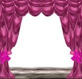 Rideaux roses et pourpres pliés avec les rubans et le plancher en bois Photos stock