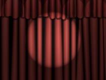 Rideaux rouges avec le projecteur Photos libres de droits