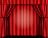 Rideaux rouges en théâtre de velours Photographie stock libre de droits