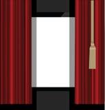 Rideaux rouges à l'étape de théâtre Image stock