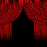 Rideaux rouges ouverts Image stock