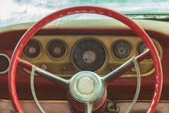 Riden ut dammig inre av en klassisk bil Fotografering för Bildbyråer
