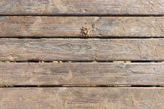 Riden ut träboardwalk på sanden Arkivfoto
