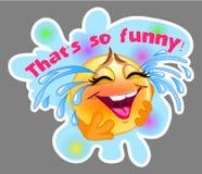 Ridendo e gridando l'autoadesivo dell'emoticon con fondo blu Fotografia Stock