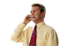 Ridendo sul telefono Immagine Stock Libera da Diritti