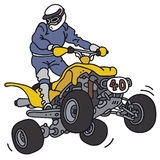 Rider on the all terrain vehicle. Hand drawing of a racer on the all terrain vehicle - not a real modell Stock Images