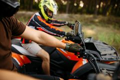 Rider on atv, view through the helmet, quadbike royalty free stock photo