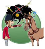 Rider blames his horse. Cartoon-style illustration: an angry rider blames his horse for the defeat Royalty Free Stock Images