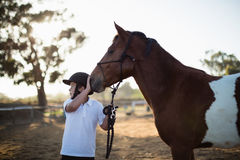 Rider boy caressing a horse in the ranch Royalty Free Stock Images