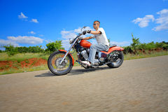 Rider on a chopper Royalty Free Stock Images